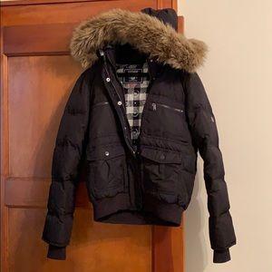 Pink Black Winter Puffer Coat